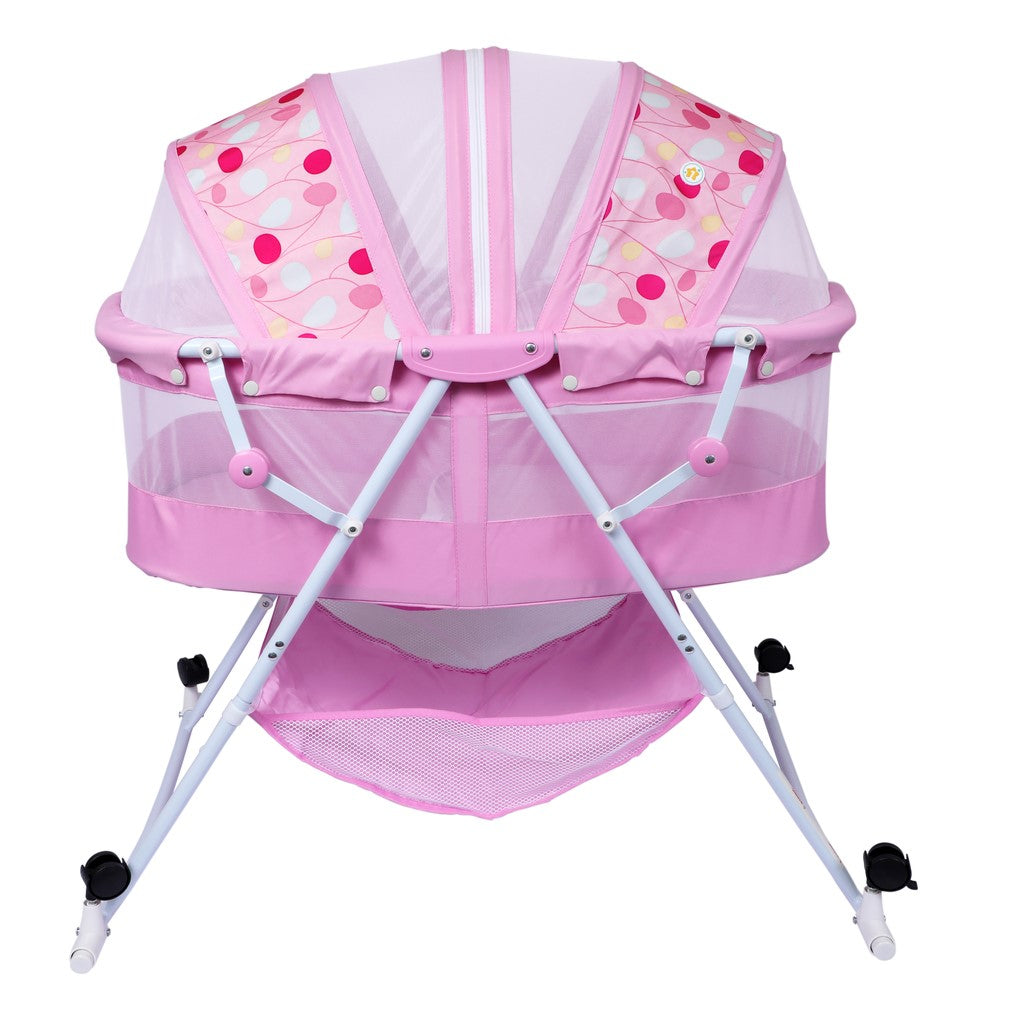 1st Step Bassinet Cum Rocker With Mosquito Net-Pink