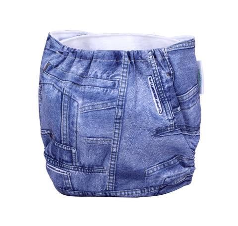 1st Step Size Free-size Adjustable, Washable and Reusable Diaper with Diaper Liner (Denim)