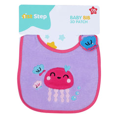 1st Step Baby Bib With 3D Patch-Purple
