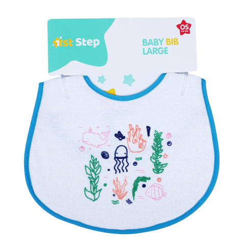 1st Step Large Baby Bib-Blue