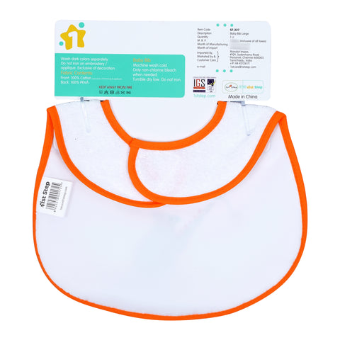 1st Step Large Baby Bib-Orange