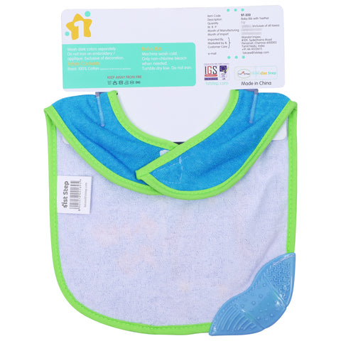 1st Step Newborn Baby Cotton Bib with 3D Patch and Teether-Blue