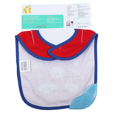 1st Step Newborn Baby Cotton Bib with 3D Patch and Teether-Red