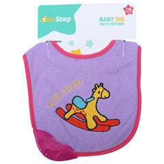 1st Step Newborn Baby Cotton Bib with 3D Patch and Teether-Purple