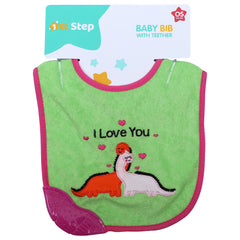 1st Step Newborn Baby Cotton Bib with 3D Patch and Teether-Green