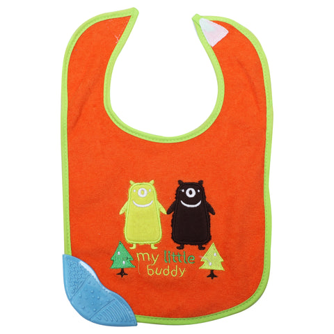1st Step Newborn Baby Cotton Bib with 3D Patch and Teether-Orange