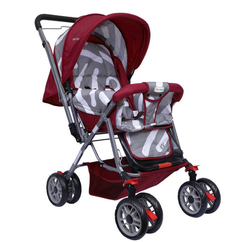 1st Step Yoyo Baby Stroller with 5 Point Safety Harness and Reversible Handlebar Stroller-Red