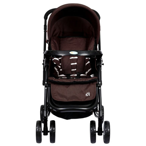 1st Step Cloudie Baby Pram Cum Rocker 2 in 1 Rocking Baby Stroller and Pram-Brown
