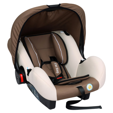 1st Step Car Seat Cum Carry Cot With Thick Cusioned Seat And 5 Point Safety Harness-Brown
