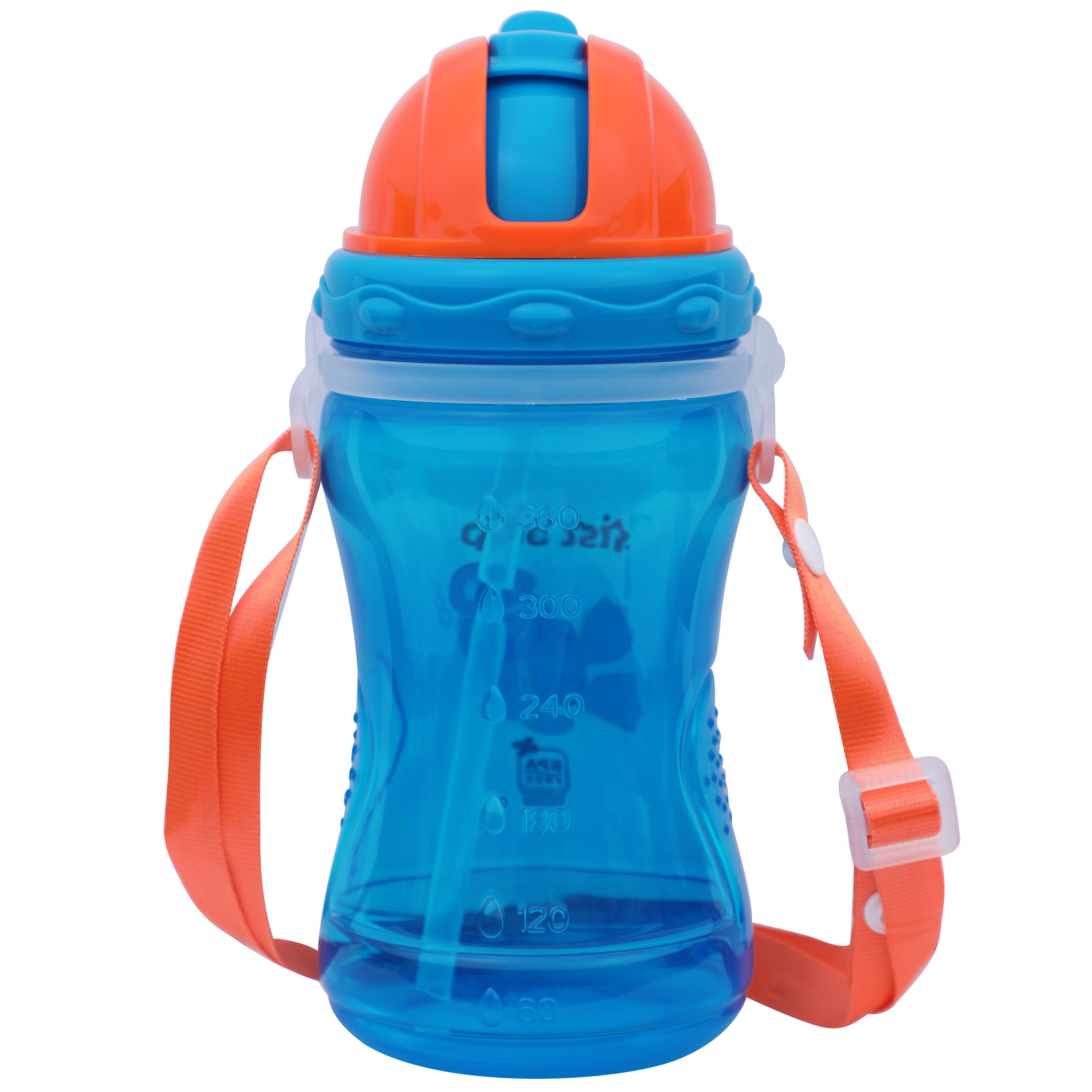 1st Step Spill Proof BPA Free Polypropylene Straw Sipper With Strap-Blue