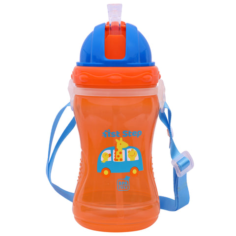 1st Step Spill Proof BPA Free Polypropylene Straw Sipper With Strap-Orange