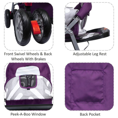 1st Step Yoyo Baby Stroller with 5 Point Safety Harness and Reversible Handlebar Stroller-Purple