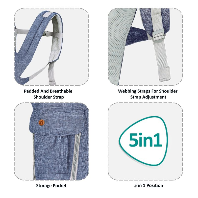 1st Step 5 In 1 Hip Seat Baby Carrier - Denim