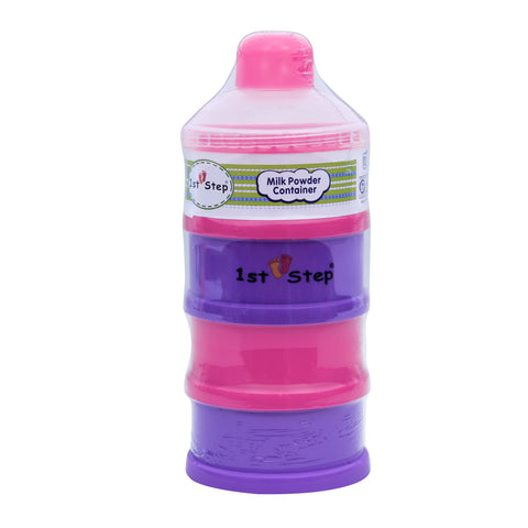 1st Step BPA Free Polypropylene 4-Tier Milk Powder Container- Pink