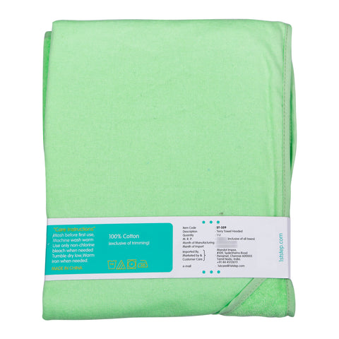 1st Step Terry Cotton Soft, Absorbant, Breathable, Skin Friendly, Printed, Hooded Baby Bath Towel/Bath Robe/Wrapper (Green)