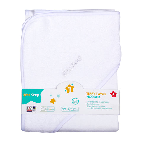 1st Step Terry Cotton Soft, Absorbant, Breathable, Skin Friendly, Printed, Hooded Baby Bath Towel/Bath Robe/Wrapper (White)