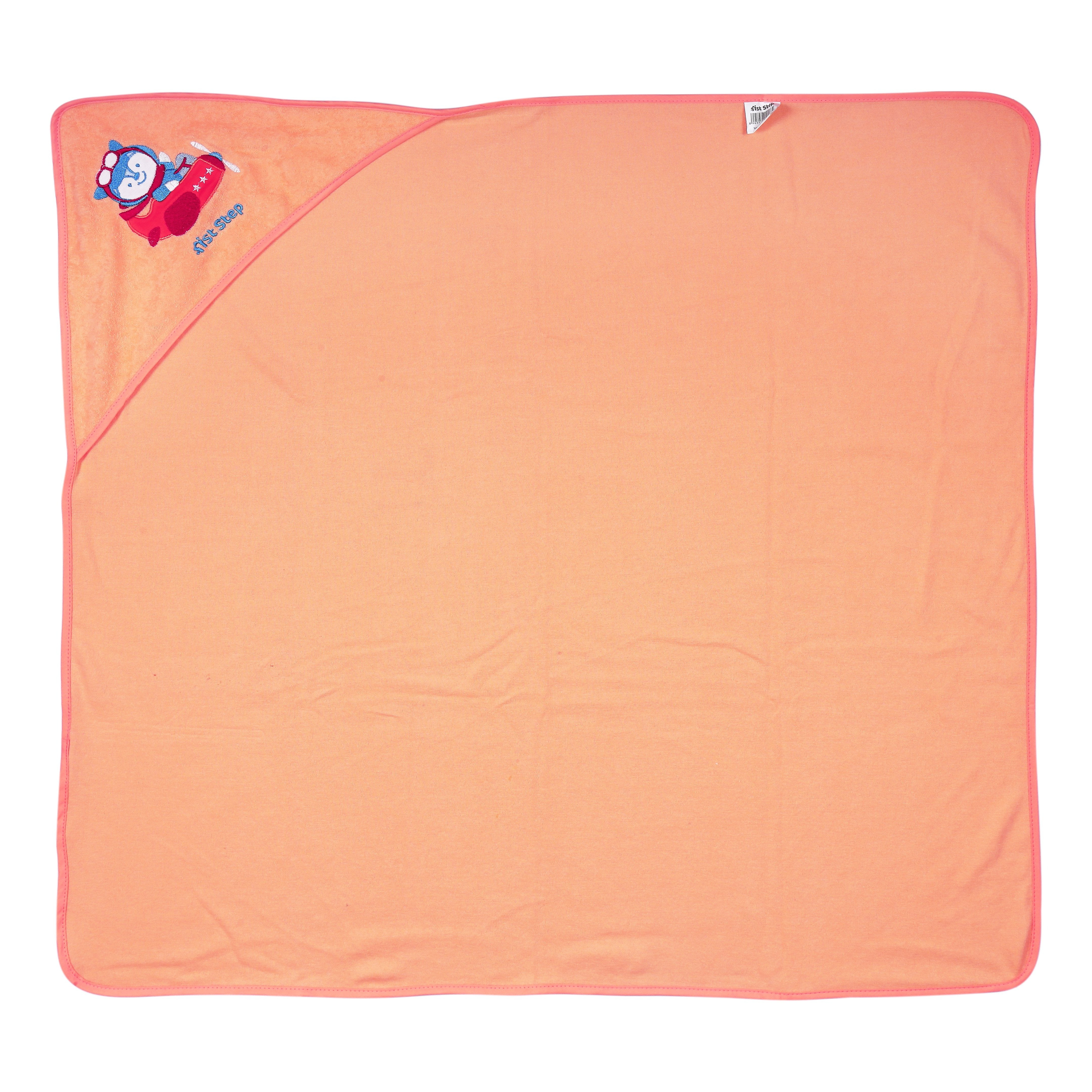1st Step Terry Cotton Soft, Absorbant, Breathable, Skin Friendly, Printed, Hooded Baby Bath Towel/Bath Robe/Wrapper (Orange)