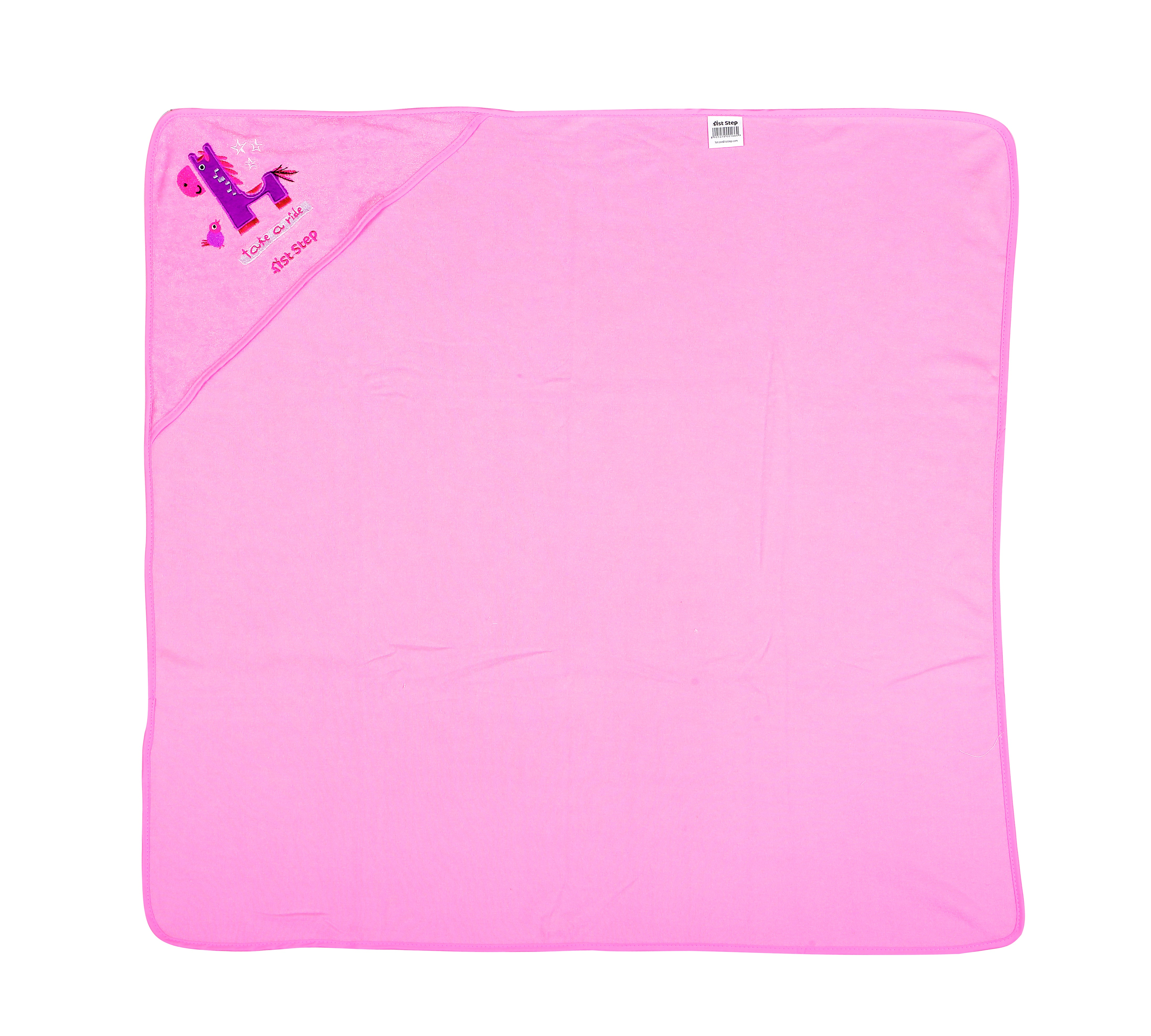 1st Step Terry Cotton Soft, Absorbant, Breathable, Skin Friendly, Printed, Hooded Baby Bath Towel/Bath Robe/Wrapper (Pink)