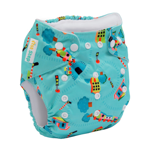 1st Step Size Free-size Adjustable, Washable and Reusable Diaper with Diaper Liner (Green)