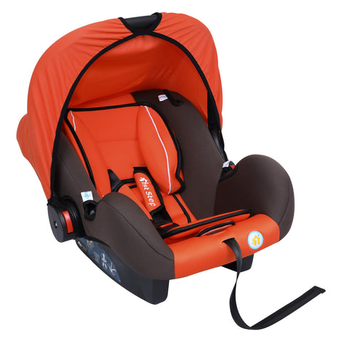 1st Step Car Seat Cum Carry Cot With Thick Cusioned Seat And 5 Point Safety Harness-Orange