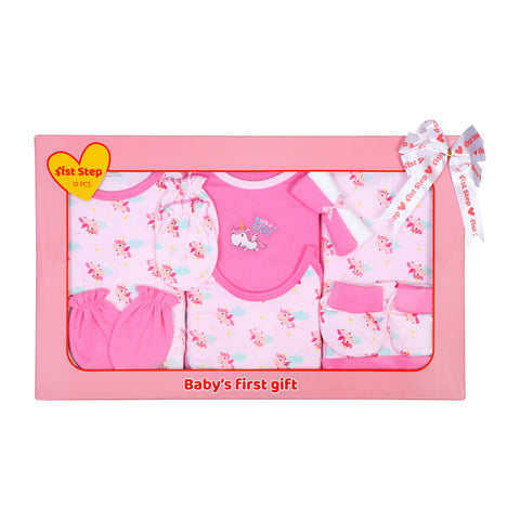 1st Step New Born Baby Gift Set Pack of 10 (T-Shirt, Short Pant, Bodysuit, 2 Pcs of Wash Cloths, Bonnet, Bib, A Pair of Botties and 2 Pairs of Mittons)