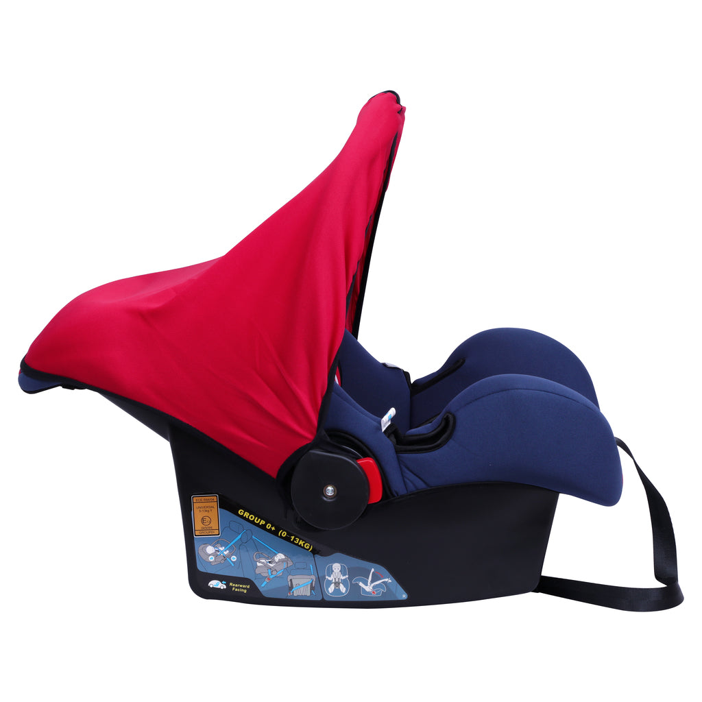 1st Step Car Seat Cum Carry Cot With Thick Cusioned Seat And 5 Point Safety Harness-Red