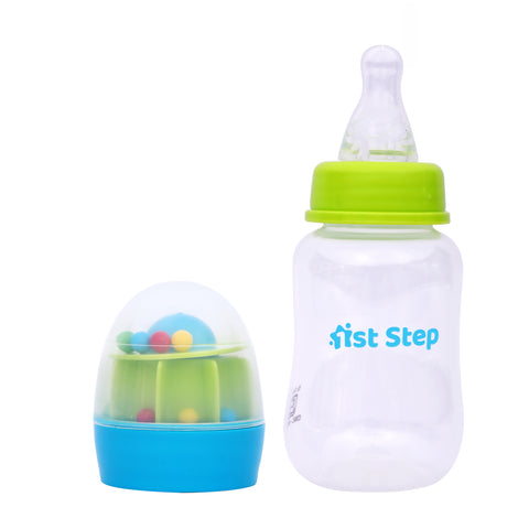 1st Step 125ml BPA Free Polypropylene Feeding Bottle With Rattle Hood - Blue
