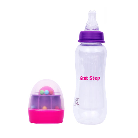 1st Step 250ml BPA Free Polypropylene Feeding Bottle With Rattle Hood - Pink