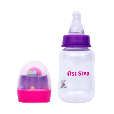 1st Step 125ml BPA Free Polypropylene Feeding Bottle With Rattle Hood - Pink