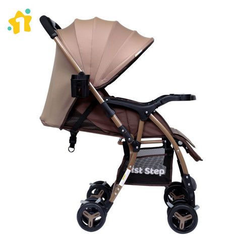 1st Step Caramel Baby Pram Cum Stroller with 5 Point Safety Harness/Infinitely Reclining and Cushioned Seat/Reversible Handle/Front Swivel Wheels