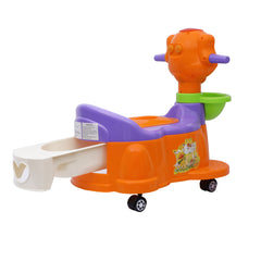 1st Step Baby Musical Potty Chair With Wheels Doggy Design - Orange