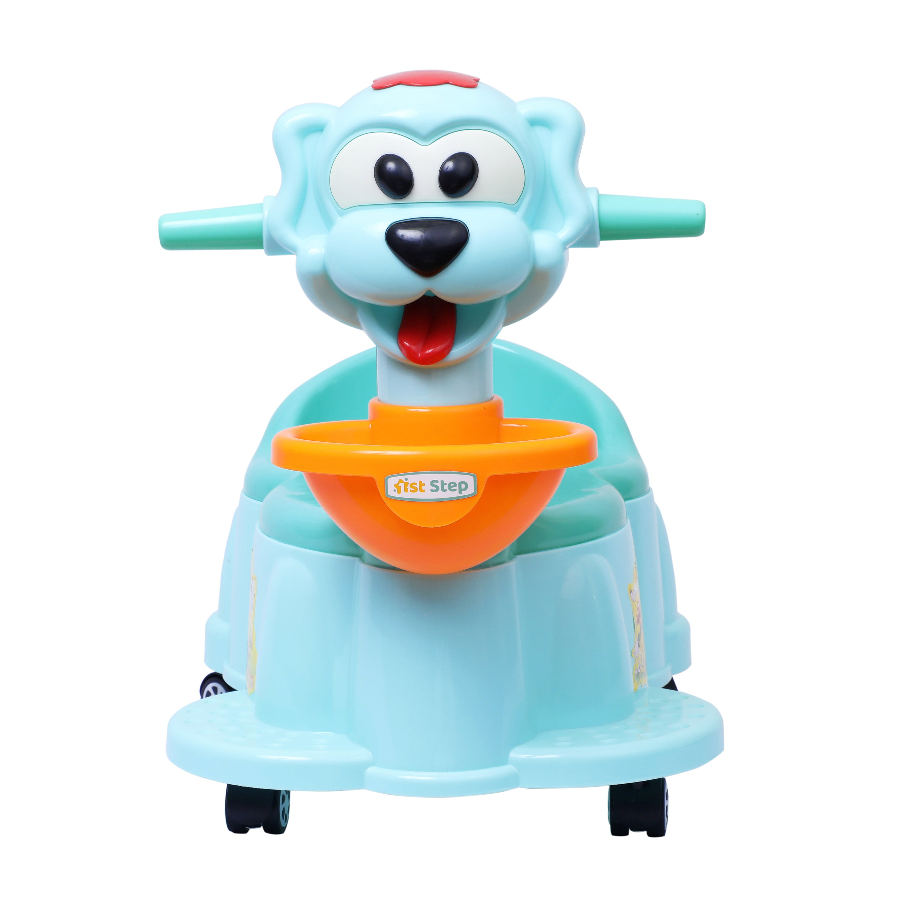 1st Step Baby Musical Potty Chair With Wheels Doggy Design-Aqua Blue