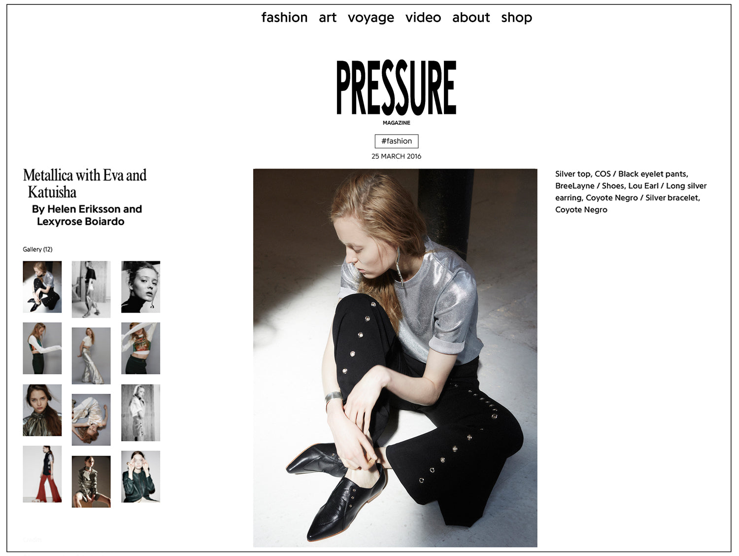 LOU.EARL Eleanor lace up oxford shoes featured in Pressure Paris Magazine fashion editorial.