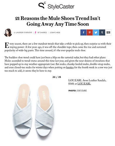 StyleCaster's article featuring the Avon Leather Sandals