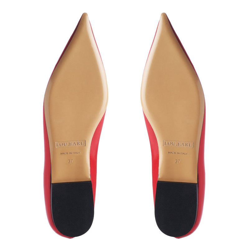 Vivienne Pointed Flats in Lipstick Red