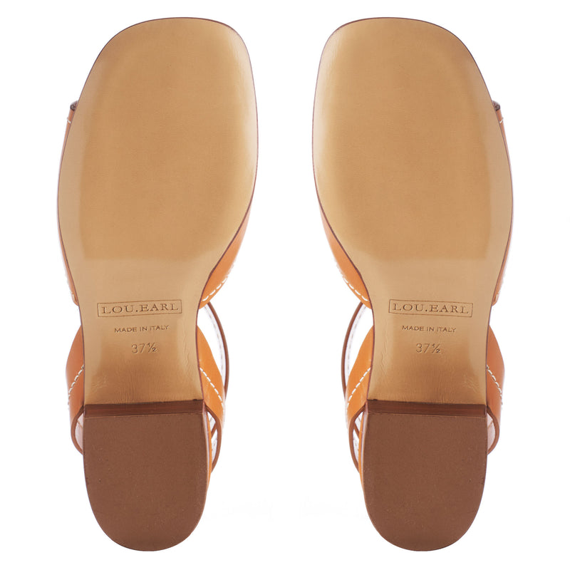 cognac square toe sandals with block heel and leather outsole