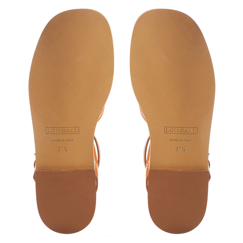 soft square toe flat sandals with leather outsole and upper