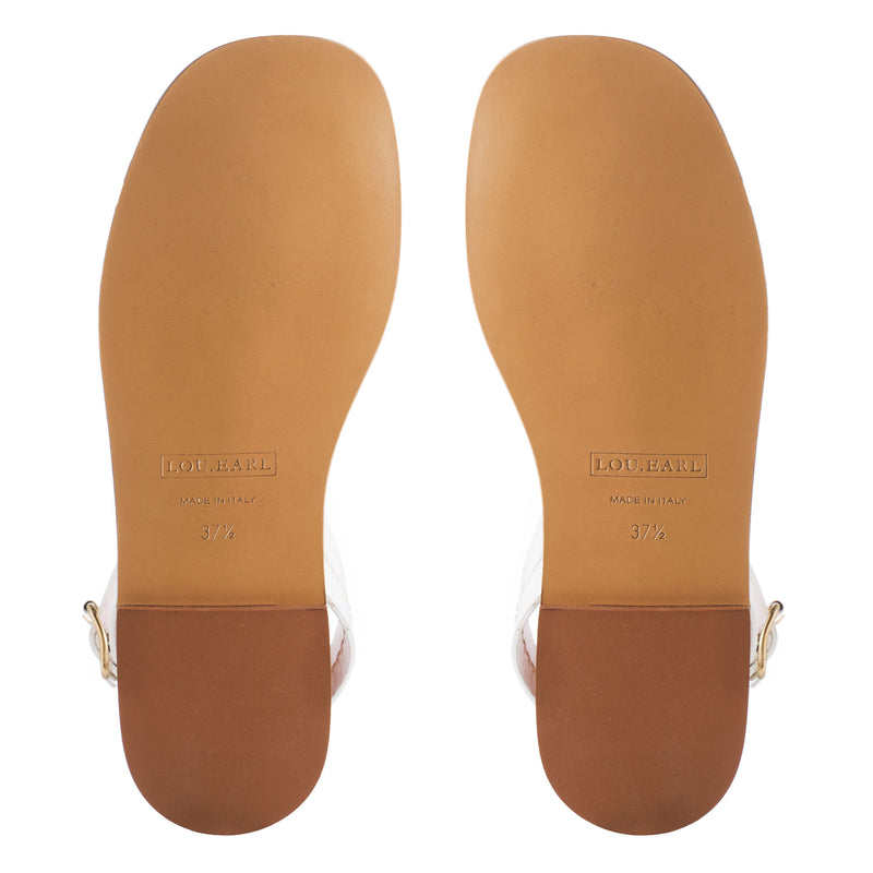leather flat sandals with leather outsole.