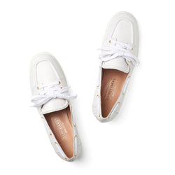 lace up moccasin slip on white leather womens shoes