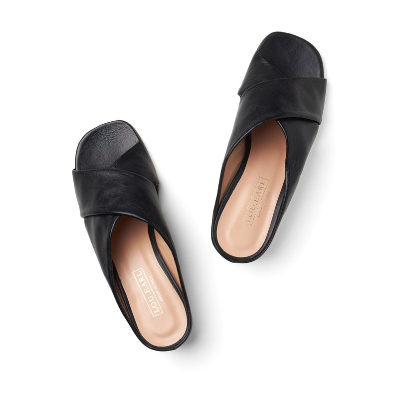 black criss cross wide band block heels. slip on open toe heeled sandals calfskin leather