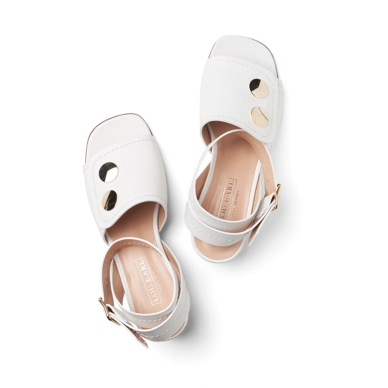 white square toe heels for summer with ankle strap and oversized metal gold hardware
