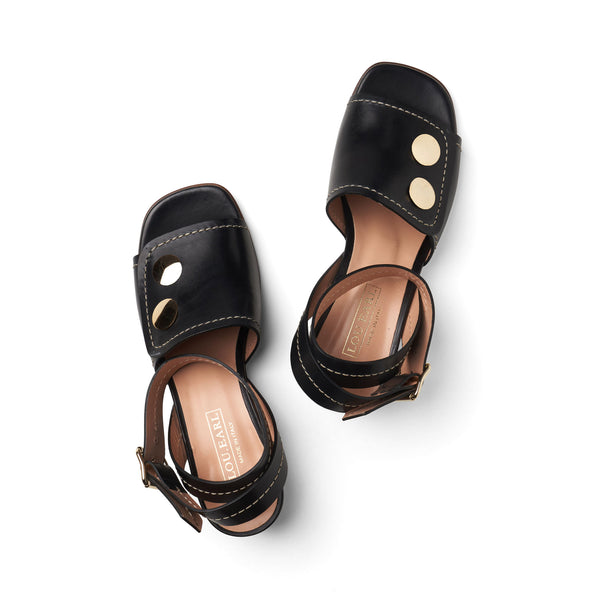 square toe chunky heel open-toe sandals with oversized gold metal studs and gold buckle