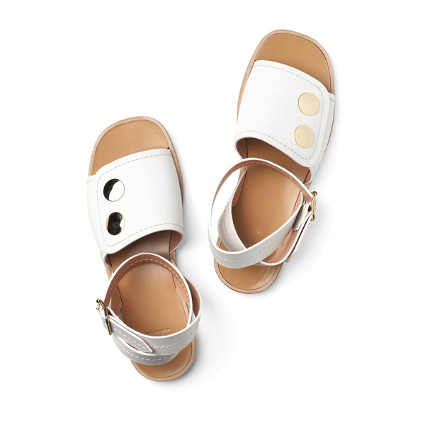 flat white fully covered vamp sandals with ankle strap and open toe