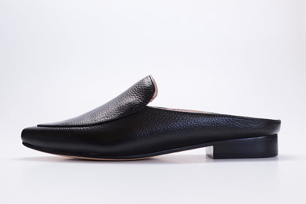 black pointy tumbled leather mules for women with low heel