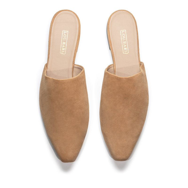Tan suede flat mule shoes with slightly square, almond-shaped toe photographed side by side with toe pointed down
