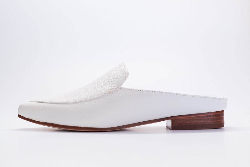 white tumbled leather mule shoes by Lou earl