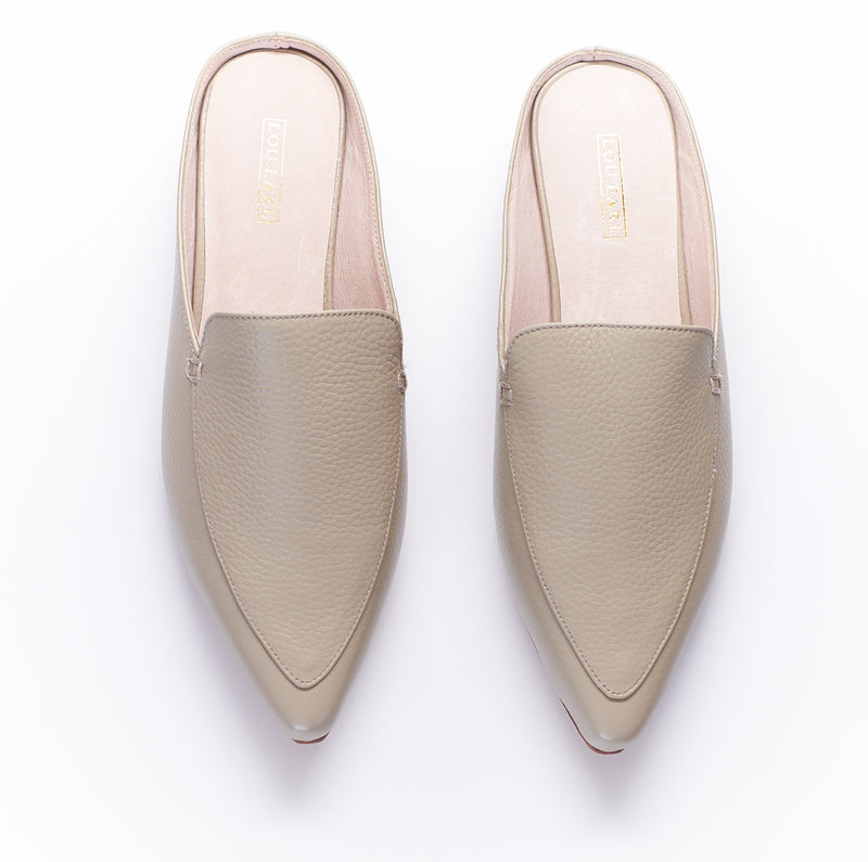 pebble grey or taupe leather mule loafer shoes for women