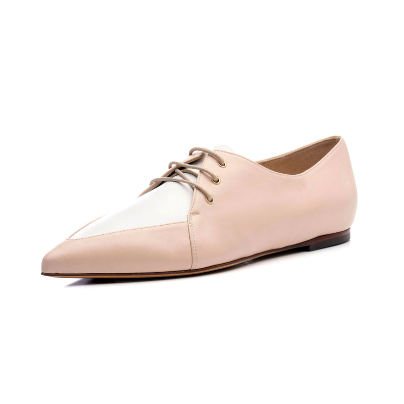natural blush and white pointy toe Oxford lace up shoes for women