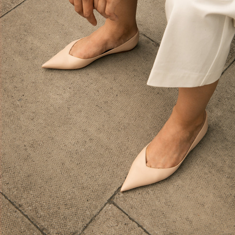 Pointed Toe Leather Flats in a Neutral