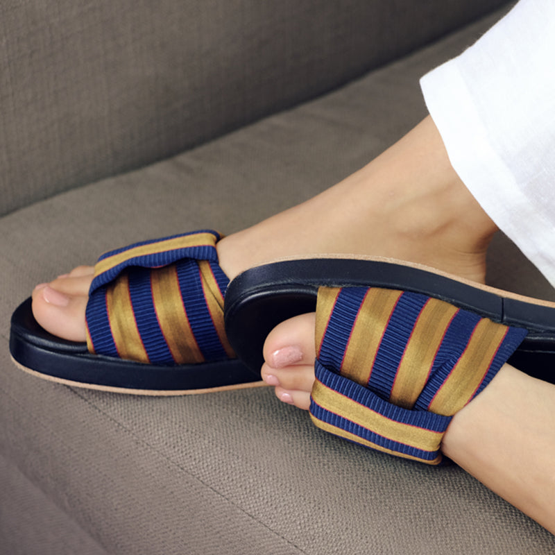 womens striped satin slides with leather flip flops sandals
